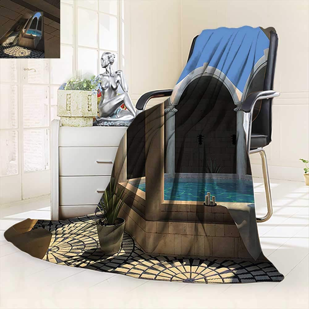vanfan Throw Fuzzy Fleece Microfiber Blanket Inside View A Spa Hotel Bathtub in The Circle Centre Trendy,Silky Soft,Anti-Static,2 Ply Thick Blanket. (90''x90'')