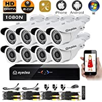 Eyedea 1080N 3500TVL 1.0MP HDMI VGA 1080P Output DVR AHD Recorder Remote Phone View Bullet Video Surveillance Waterproof Outdoor IR LED Night Vision Business Home CCTV Security Camera System Free APP