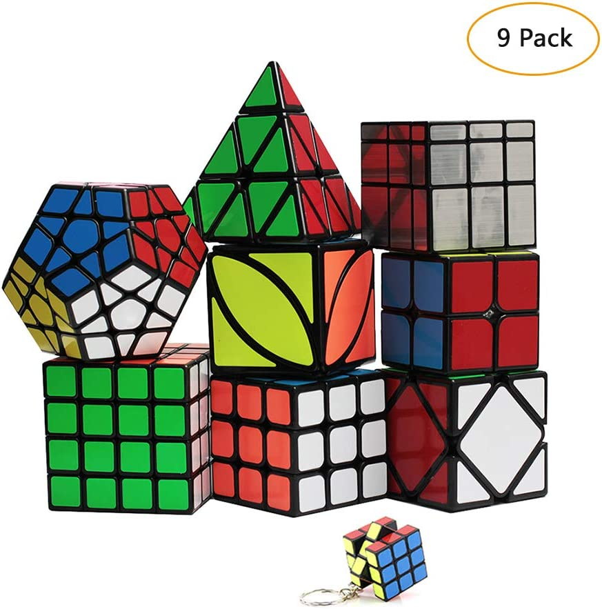YGZN Speed Cube Set 8 Pack 2x2 3x3 4x4 Speed Cube ,Megaminx Pyramid Skewb lvy Cube Mirror Cube Smooth Speedcubing Magic Cube Puzzle for Adults and Kids, for 3x3 Cube Keychain (9