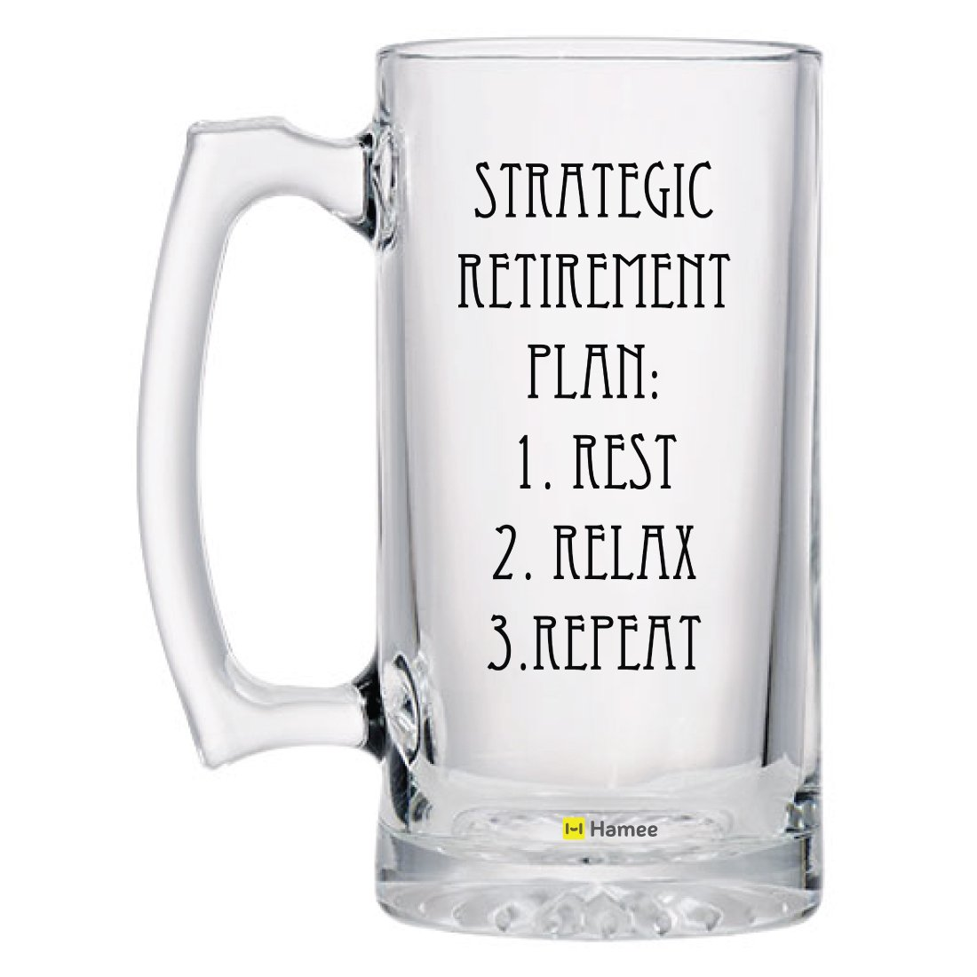 Beer Mug, Hamee Heavy Duty Premium 16.9 oz Beer Glass/Beer Mug with Handle, Gift for Retirement, Gift for Dad, Gift for Uncle - Retirement Plan