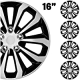 BDK (4-Pack Premium Hubcaps 16' Wheel Rim Cover Hub Caps Two-Tone Style Replacement Snap On Car Truck SUV - 16 Inch Set…