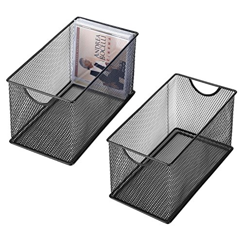 Black Mesh Metal CD Holder Box Organizer, Open Storage Bin, Set of 2