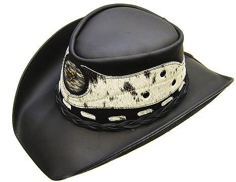 a9b2db846fecf Modestone Unisex Leather Cowboy Hat Hair On Cowhide Applique Black ...