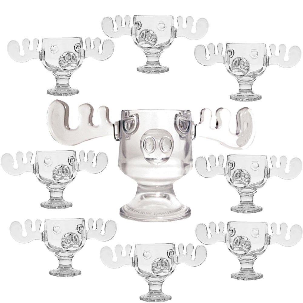 Christmas Vacation Glass Moose Mug Punch Bowl Set w/ Set of 8 Moose Mugs by Christmas Vacation Collectibles