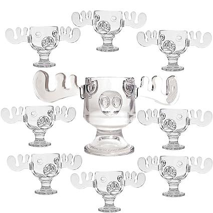 christmas vacation glass moose mug punch bowl set w set of 8 moose mugs - Christmas Vacation Moose Punch Bowl