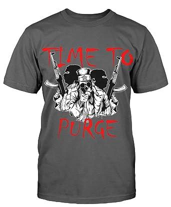 Time To Purge T Shirt Sprüche Fun Shirt Lustig Shooter Gamer Kult Retro  Herren