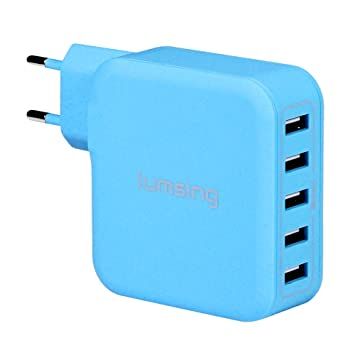 Lumsing Cargador USB de pared 5 Puertos 40W USB iSmart Wall charger, Enchufe europeo para iPhone 6 Plus/ 6/ 5S/ 5/ 4S, iPad Air/Air 2, iPad Mini, ...