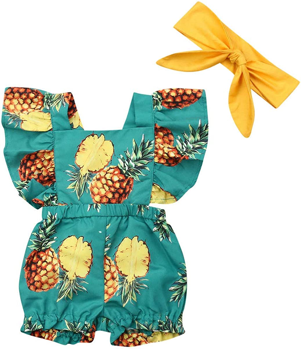 Summer Infant Baby Girl Clothes Pineapple Flower Romper Jumpsuit Playsuit Outfit