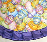 "Tabletop Easter Tree Skirt, 24"" Colorful Decorated Eggs"