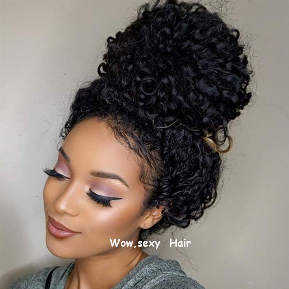 Full Lace Human Hair Wig Curly with Pre-plucked Hairline Brazilian Virgin Hair Lace Front Wigs with Baby Hair for African American Women (12 inch, Lace Front Wig)