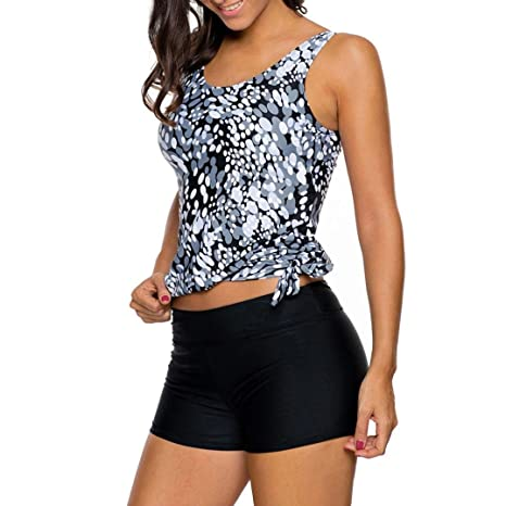 4d59ab4b136 Petite RAISINGTOP Plus Size Women Tankini Sets With Shorts Ladies Swimwear  Separates Two Piece Swimsuits Tummy ...