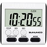 SUNUNICO Digital Kitchen Timer,Cooking Timer with Loud Alarm Clock,Magnetic Back and Retractable Stand,Minute Second Count Up Countdown Premium Large Screen Display