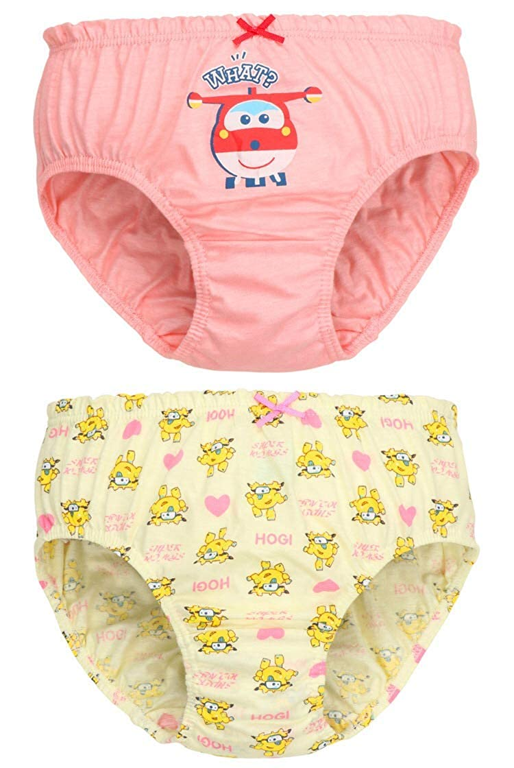 Ku-lee Girls 5-Pack Cotton Underwear Cartoon Printed with Bow-Knot Briefs Panties for Toddlers,Teens