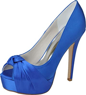 e58b16b9222c Vimedea Womens Open Toe Platform Knot Pumps Slip On Wedding Bride Dress  3128-23 Blue