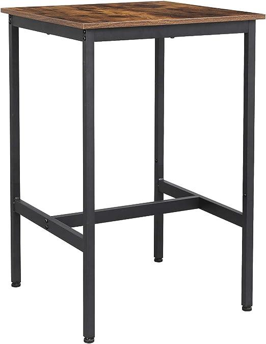 VASAGLE Bartisch, Küchentisch, Küchentresen, rechteckiger Stehtisch, stabiles Metallgestell, 100 x 40 x 90 cm, einfacher Aufbau, schmal,