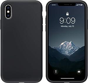 cillen Case for iPhone X/iPhone Xs Liquid Silicone Gel Rubber Phone Case,iPhone X/iPhone Xs 5.8 Inch Full Body Slim Soft Microfiber Lining Protective Case(Black)