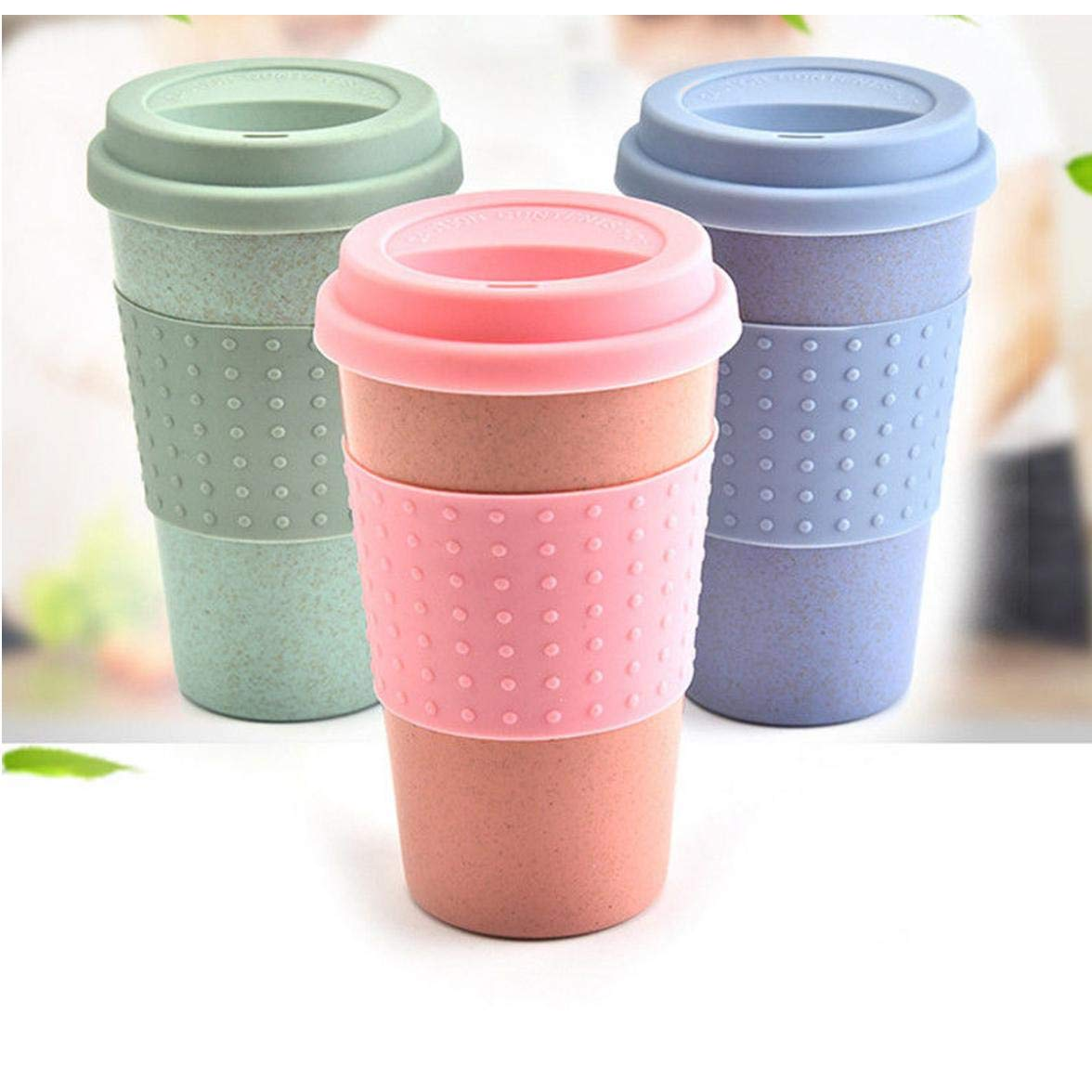 Gamloious Eco-friendly Coffee Tea Cup Wheat Straw Travel Water Drink Mug with Silicone Lid