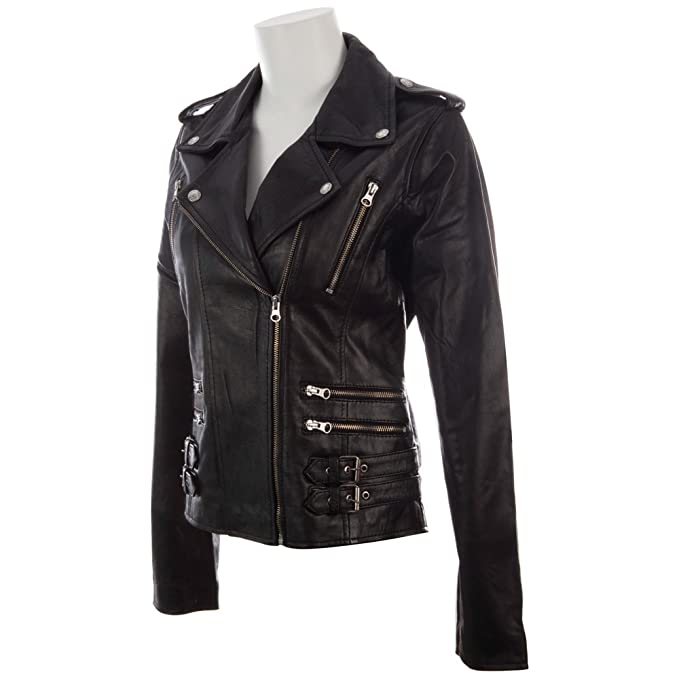 MDK Womens Super Soft Real Leather Asymmetric Multi Zip Fitted Biker Jacket by at Amazon Womens Coats Shop