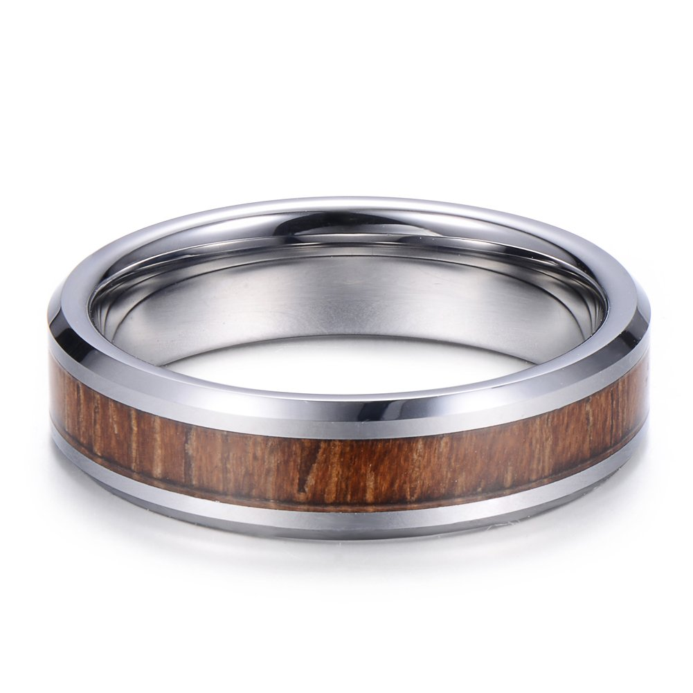 Tiitc Wedding Band Ring Tungsten Carbide Ring Real Koa Wood Inlay Beveled High Polisfed Edge Comfort Fit 6mm (10.5) by tiitc (Image #4)