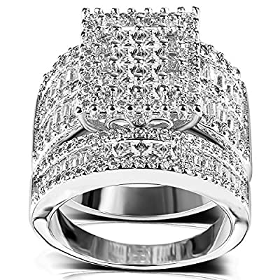 Square Cubic Zirconia Bridal Set - Princess Cut CZ Jewelry Engagement Wedding Band Rings Set for Women