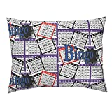 Roostery Bingo Euro Knife Edge Pillow Sham Bingo Cards by Dd BAZ Natural Cotton Sateen Made