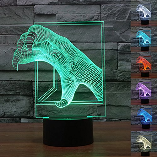 3D Monster Claws Night Light 7 Color Change LED Table Desk Lamp Acrylic Flat ABS Base USB Charger Home Decoration Toy Brithday Xmas Kid Children Gift