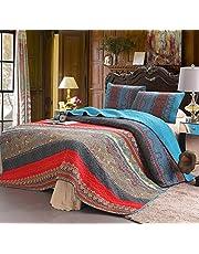(Pattern 5) - 100% Cotton 3-Piece Paisley Boho Quilt Set, Reversible & Decorative - Full/Queen by Exclusivo Mezcla