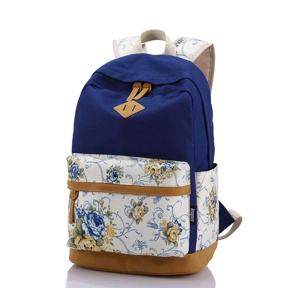 Dark bluee XiaoYu Vintage Canvas Women Backpack Cute School Bags For Teenagers Girls Printing Female Schoolbag Backpack (color   bluee)