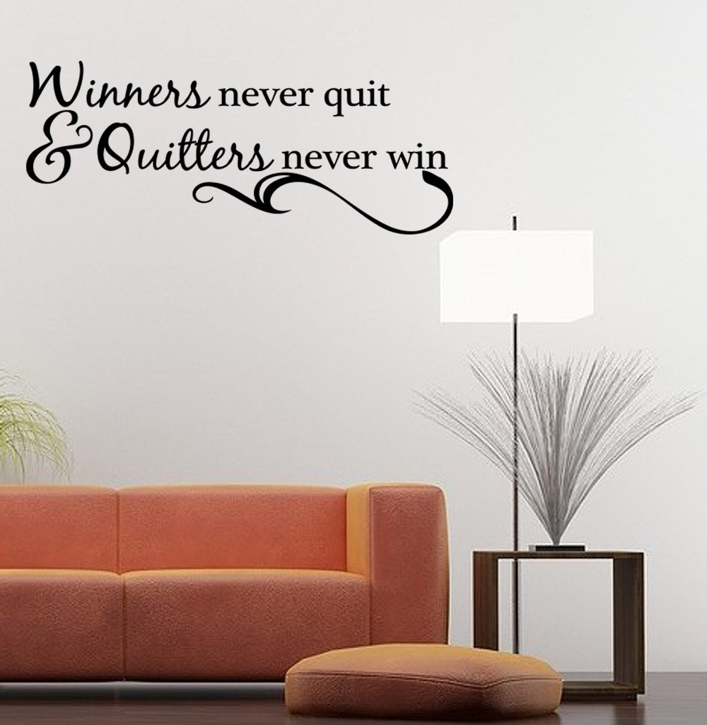 Charmant Amazon.com: Winners Never Quit Vinyl Wall Quote Decal Sports Inspirational  Saying: Home U0026 Kitchen