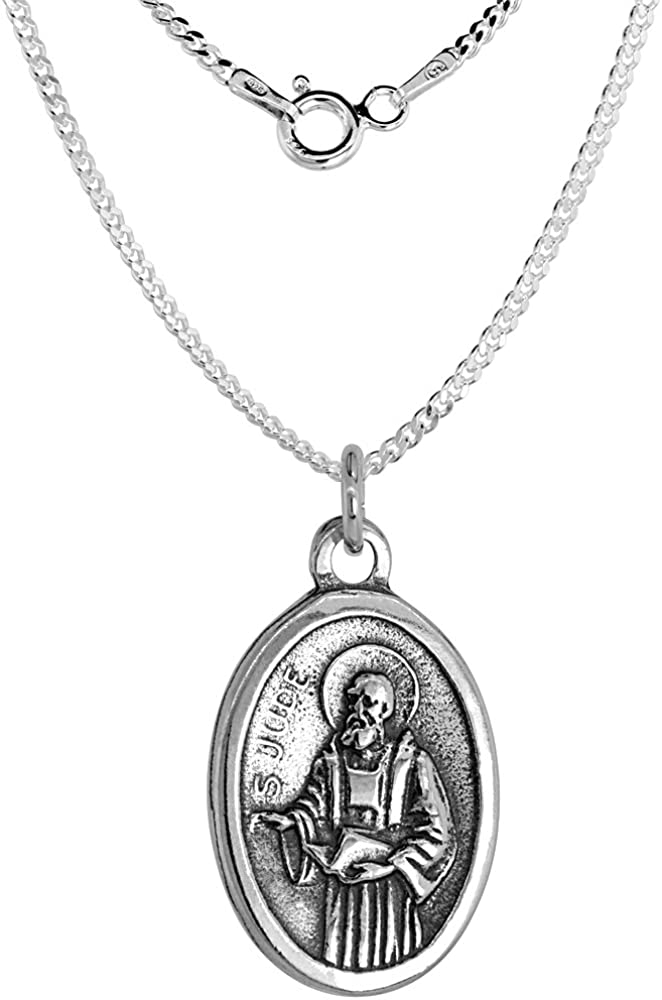 Sterling Silver St Patrick and St Bridget Medal Necklace Oval 1.8mm Chain