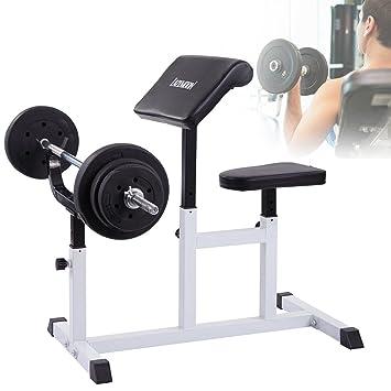lazymoon – Banco de musculación comercial banco de peso ajustable sentado romano silla aislado mancuernas bíceps