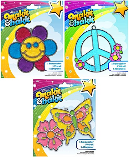 - Suncatcher Kits - Smiley Flower, Peace Sign, Butterfly & Flower - by Makit & Bakit / Colorbok - stained glass art project for kids - Boys, girls, and children - Bundle of 3