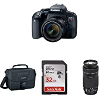 EOS Rebel T7i DSLR Two Lens Kit with 18-55mm and 55-250mm Lenses & sd Card w/Camera Bag