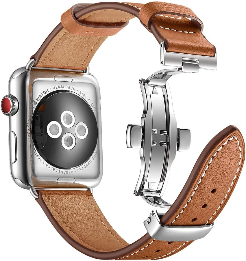 Aottom Compatible for Apple Watch Band 42mm 44mm Leather Men Women Sweatproof Smart Watch Replacement Band Metal Butterfly Buckle Bracelet Wristband for 42mm 44mm iWatch Band Series 4/3/2/1, Brown