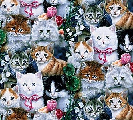 Telas de policotton Tela Children/'s Kids Azul gatos gatitos mascotas animales material Craft