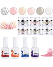 AIMEILI Nail Dipping Powder Manicure Starter Kit Nail Art Set with 6 Colors, Fast Dry, No UV/LED Lamp Needed