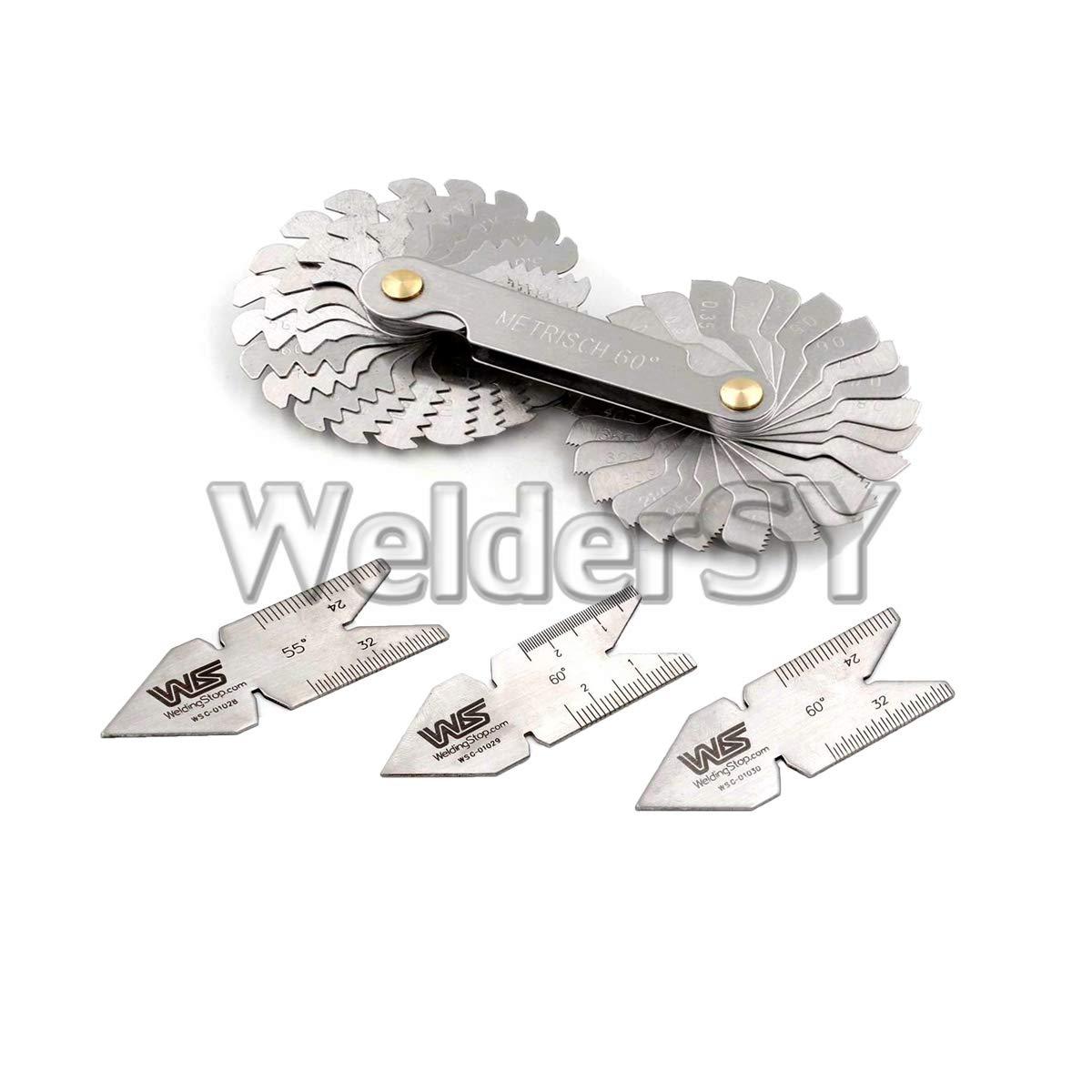 4Pcs Screw Thread Pitch Cutting Gauge Tool Set Centre Gage 55°/&60° Inch /& Metric