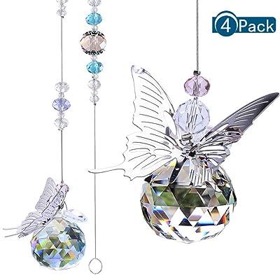 BKpearl 4 Pcs Crystals Sun Catcher, Hanging Suncatchers Beads Chain Sphere Chandelier Lamps Light Pendant for Christmas Day, Wedding, Plants, Cars, Window Décor : Garden & Outdoor