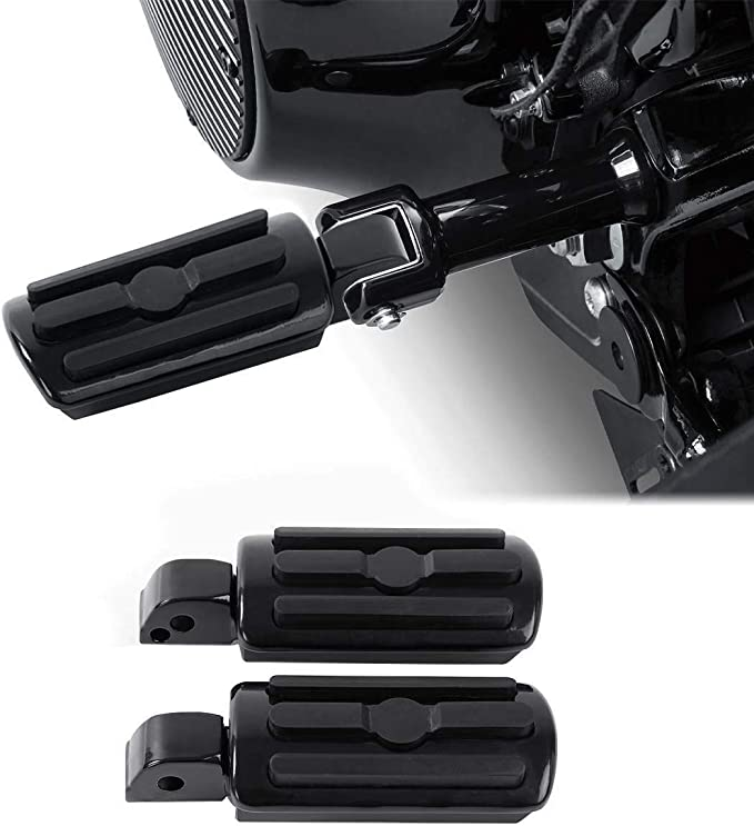 Softail Foot Pegs Knurled Footpeg Front Footrests Pedals Black For Harley Softail Slim Fat Boy Deluxe Heritage Classic Low Rider 2018-2020