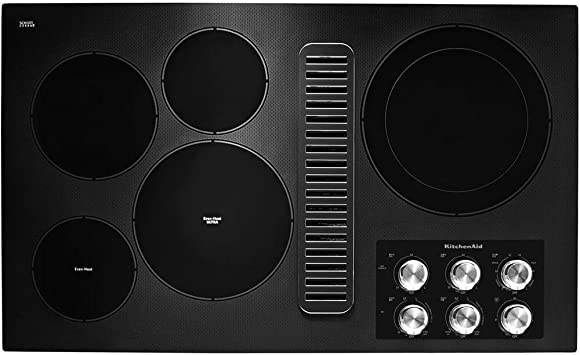 KitchenAid KCED600GBL 30 Electric Downdraft Cooktop with 4 Elements Black Glass