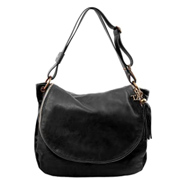 Amazon.com  Tuscany Leather TLBag Soft leather shoulder bag with tassel  detail Black  Tuscany Leather Official Store f9275afd66