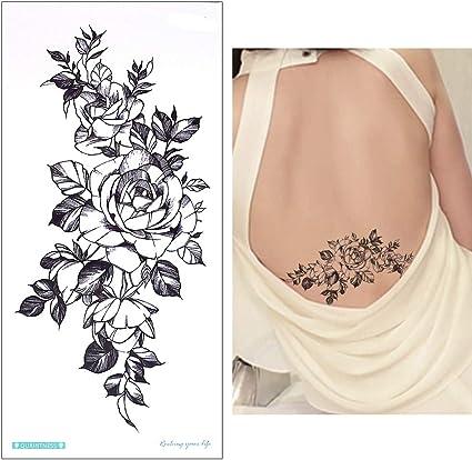 Flores tatuaje adhesivo Fake Tattoo Negro qc904: Amazon.es: Belleza