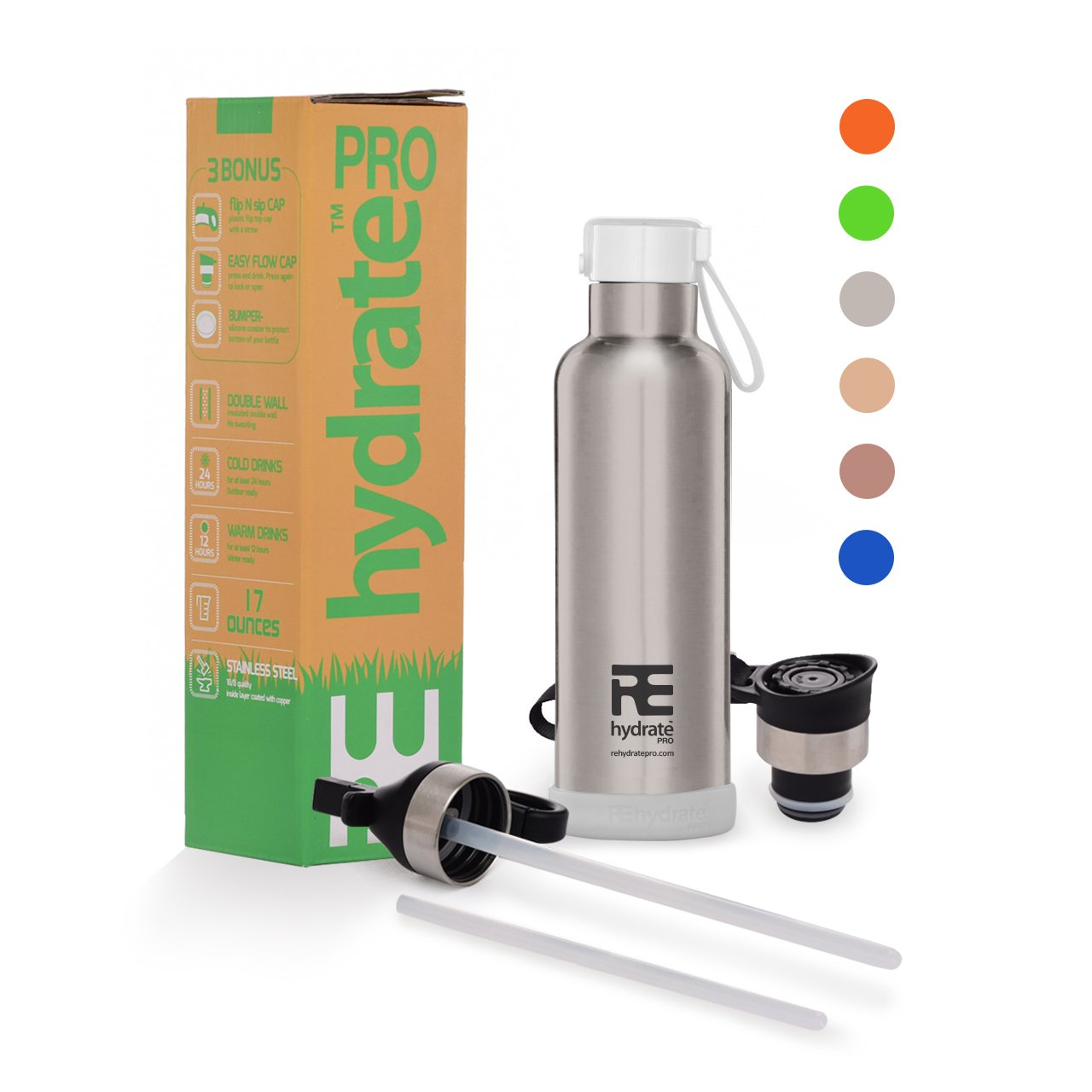 Rehydrate Pro (Chrome 17 oz Kids Insulated Water Double Wall Bottle Stainless Steel Metal Flask Bonus Lids and Straws. Simple Modern Thermal Leak Proof Flask that keeps Drinks Cold and Hot