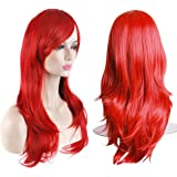 "AKStore Fashion Wigs 28"" 70cm Long Wavy Curly Hair Heat Resistant Wig Cosplay Wig For Women With Free Wig Cap (Red)"