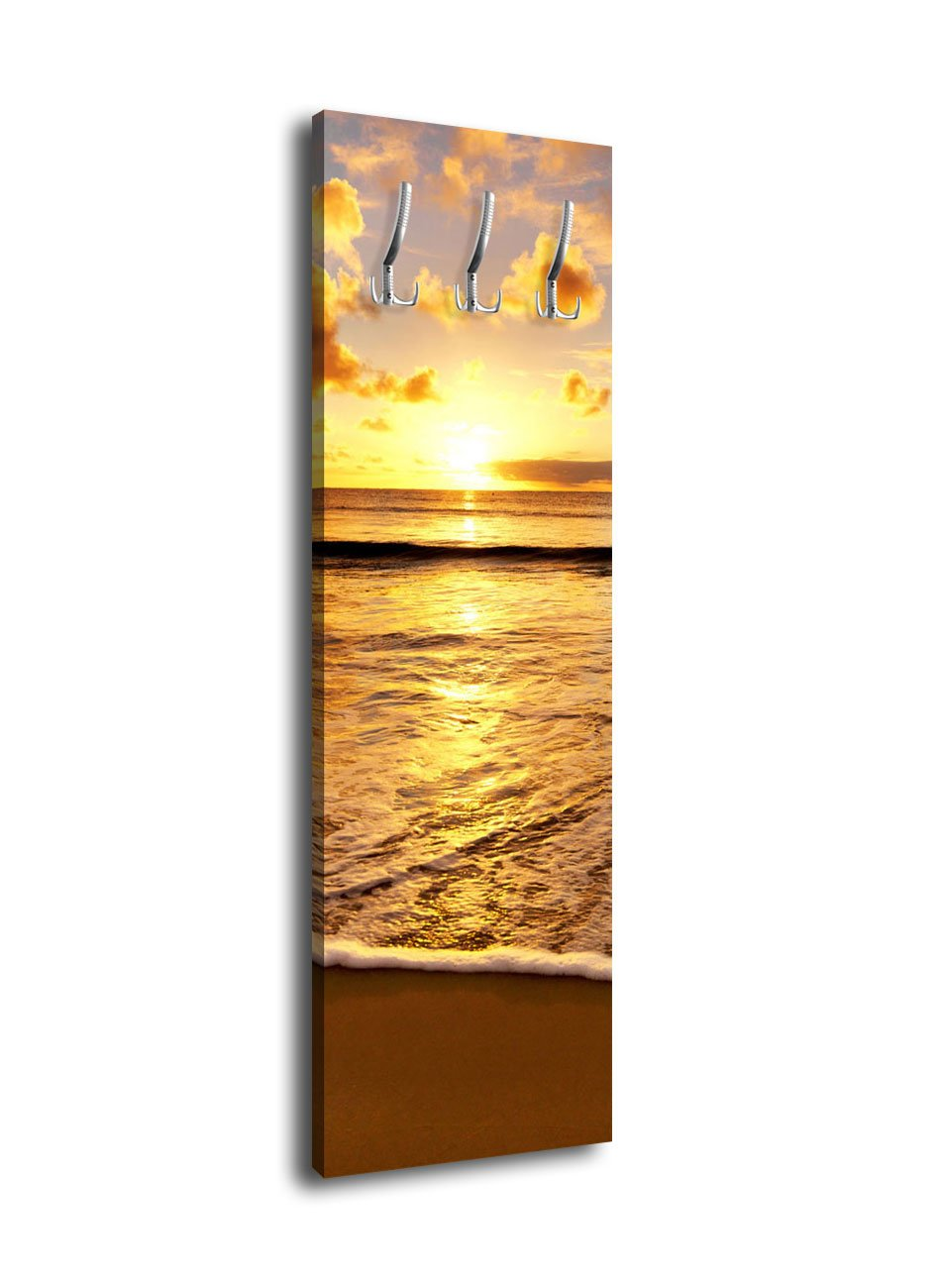 Wandmotiv24 Garderobe mit Design Sonnenuntergang G302 40x125cm Wandgarderobe Strand Ufer Sonne