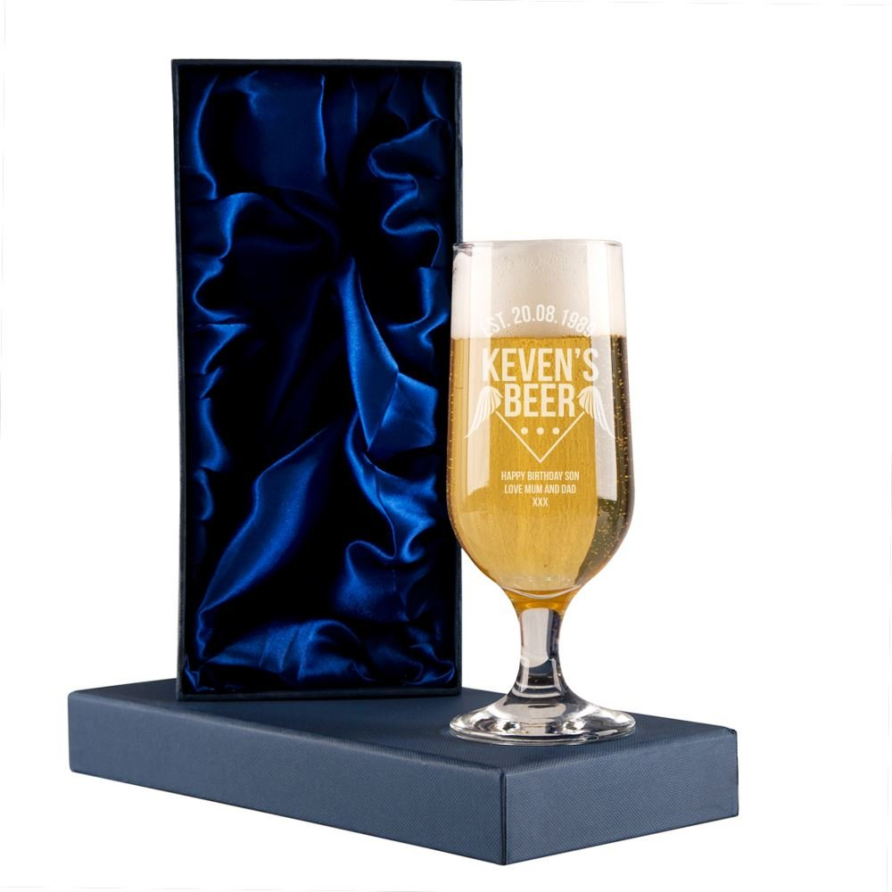 Personalised Established 'Year' Beer Glass with Gift Box, Unique Drinking Gifts, Birthday Gifts for Men Personalised Gift Ideas