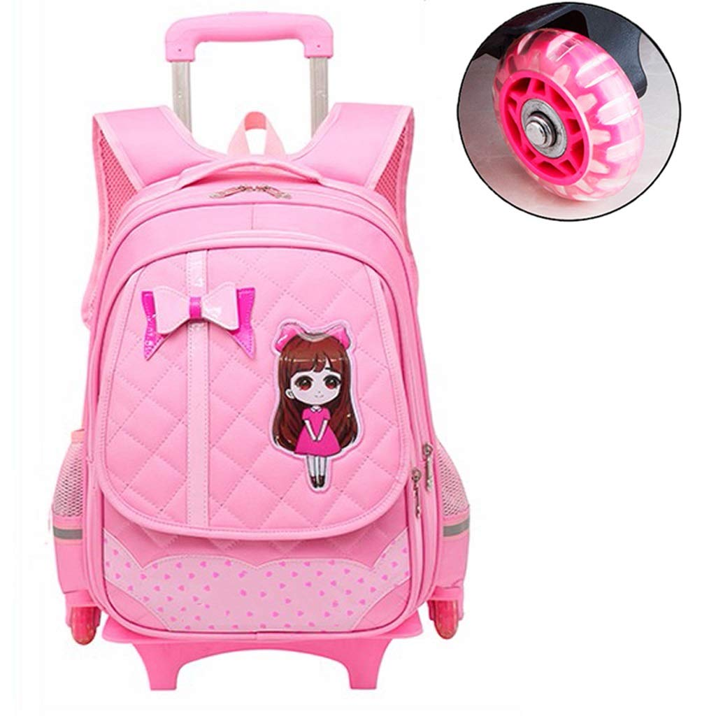 Amazon.com: C-Xka Waterproof Cute Bowknot Kids Rolling Backpack with Wheels Princess Style Trolley Wheeled Backpack Decompression Backpack (Color : A): ...
