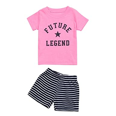 810ee1df390f Webla Newborn Baby Girls Boys Summer Casual Clothes Set Letter Future  Legend Print T-Shirt +Striped Shorts Set Ages 0-24 Months Pink  Amazon.co.uk   Clothing