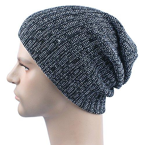 [Sikye Men Women Baggy Warm Crochet Winter Wool Knit Ski Beanie Skull Slouchy Caps Hat (Black)] (Black Costumes Bonnet)