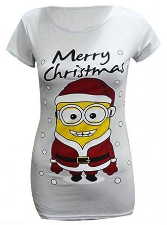 6748cc63 New Womens Ladies Plus Size Merry Christmas Minions Xmas Frozen Olaf Print T -Shirt Tops 16-26: Amazon.co.uk: Clothing
